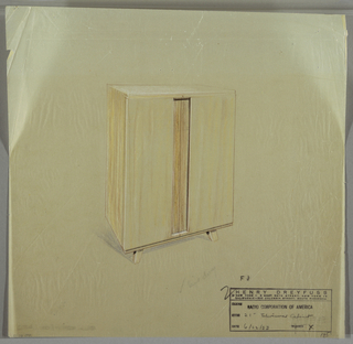 Rectangular, vertical cabinet with small straight flaring feet.