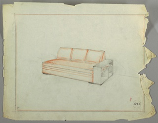 Drawing, Sofa and Bookshelf, ca. 1934