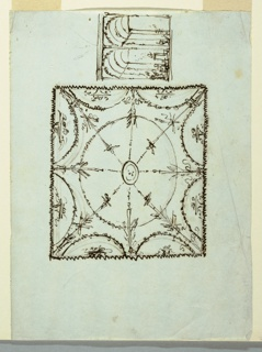 Horizontal rectangle. At left, ceiling. In center, sun-face framed by garlands forming oval. Radially, burning torches. Outside, upper parts of circles with pedestal. At right, view into two aisles of tall structure. At left, representation of sacrifice. Verso: scheme of panels of ceiling, outlined.