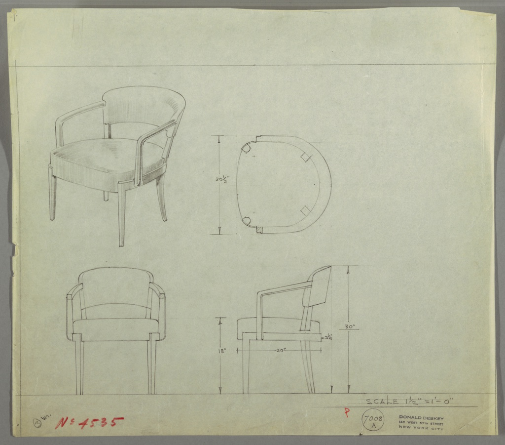 Drawing, Armchair: Wood, Upholstered
