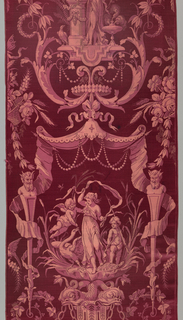Red length with a pictorial design in imitation of Pompeiian style. Symmetrical arrangement of female figure with doves; below canopy, with garlands of pearls and below female with cupids, and swan and tortoise and below dolphins. At sides, herms with foliage and roses.