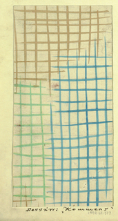 White ground with crosshatching pattern in blue, green, and beige.