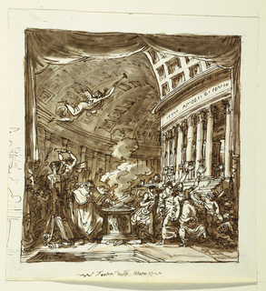 """Vertical rectangle. Framing similiar to 3180. View into circular vaulted structure, right part formed by front of temple dedicated to Apollo. Left foreground, herm stands, crowned by putto and surrounded below by musical intruments, books, scrolls. Center: altar with old priest.  At right: three muses and victorious putto over demon. At left: sketch of monument with inscription below, """" Teatro delle Muse,"""" above flying flame."""