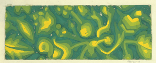 Blue-green ground with a stylized floral/vegetal pattern in gradations of light green, dark green, and yellow.
