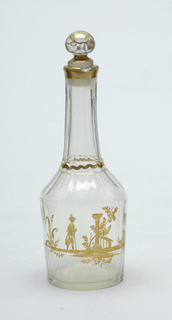 Bottle and stopper, clear glass with gold decoration