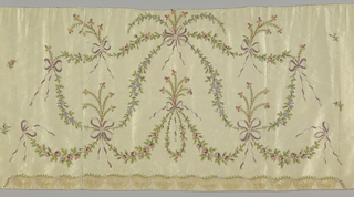 Rectangular skirt panel with delicate festoons of flowers caught with bows in a symmetrical arrangement. Embroidered in soft pastel colors on a cream-colored ribbed ground. Small scattered sprigs at the sides. Lined with thin cream silk fabric. Row of small scallops indicated at the bottom by discoloration.