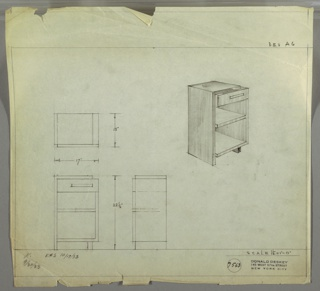 Perspective, plan, and elevation drawing for end table. Rectangular table with squared off edges; panel along left side and top, drawer below top with pull on right side, two open shelves below. Two legs support unit.