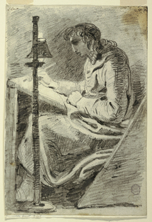 A heavily draped figure, seated, facing left draws upon a slanted surface resting in his lap. At left, a long pole supports the lamp illuminating the writing surface, leaving much of the figure in shadow.