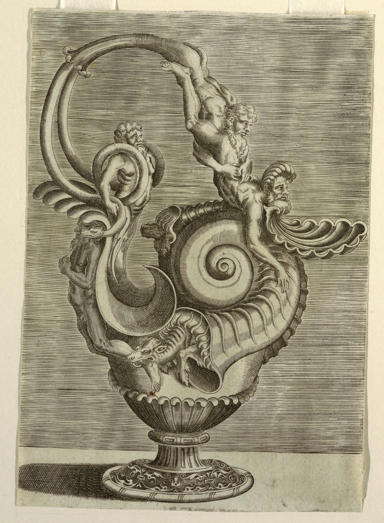 A large snail shell on the body from which emerges a dragon biting the ankle of a man at left at the base of the handle. Three other bearded men and two snakes make up the handle, which is at left. A foot with a decoration of plant motifs.