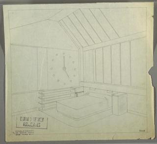 Bedroom suite in the George C. and Eleanor Hutton Rand apartment. Low, box-frame double bed on right wall; rounded corners and simple covering. Panel backboard attached to wall with two rectangular lights (?) above bed. Rectangular side tables to left and right of bed. On left wall to left of side table is long, horizontal shelving unit with four rounded shelves connected on the left side by a vertical pole. Above shelves is a large clock, with two hands and small circles in place of numbers. Large window to left of clock, with curtain pulled to the right. Above bed on right wall and on right side of vaulted ceiling is large expanse of windows, with curtains pulled to left on right wall. Area rug underneath shelves, bed, and side tables.