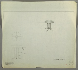Perspective drawing for a small round end table in upper right, plan and elevation in lower left. Table has Bakelite (?) circular top, with four tubular metal legs. Feet for each leg bends at bottom and extends outward. Small tubular metal circle between four legs near ground.