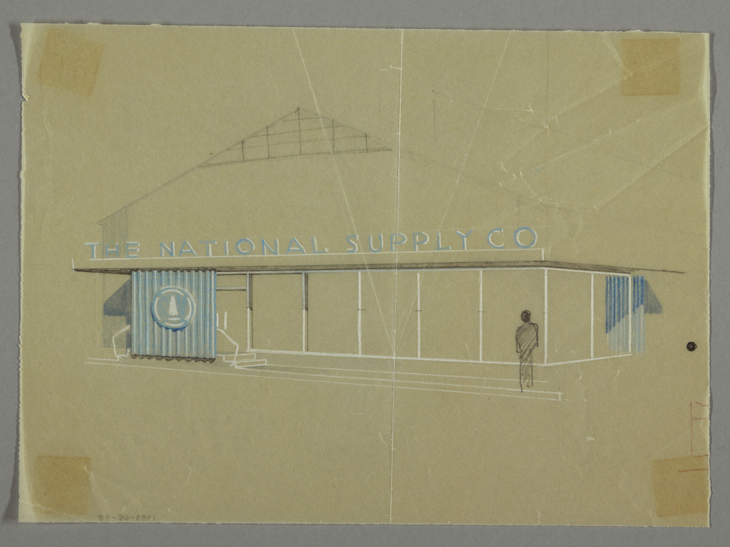 Exterior view of a pitched roofed building with a wooden gate; NATIONAL SUPPLY SUPPLY CO in blue letters; a figure standing in front.