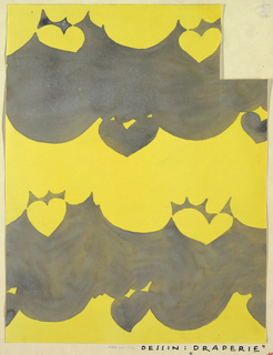 Abstract swag motif with cut out heart shapes above and below in gray on yellow background.