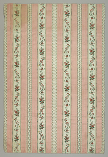 Pink and white stripes with floral motif.