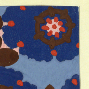 Pattern of arabesque-petalled blossoms in blue and pink with red dots and dark brown circles, with leaves and stems in dark brown in the interstices on a sky blue background.