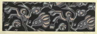 Black ground with a stylized floral/vegetal pattern in white, rose, gray, and blue