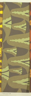 Abstract pattern of scalloped forms, with overlapping colors of varying thickness in chartreuse and shades of olive green