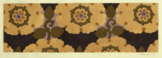 Pattern of arabesque-petalled blossoms in peach and lavender with tan dots and dark brown circles, with leaves and stems in dark brown in the interstices on a plum background.