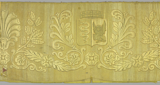 Oblong panel of gold cloth with foliage design, as well as emblems such as a shield (the symbol of St. Mark), a lion, a snake and a circlet above.