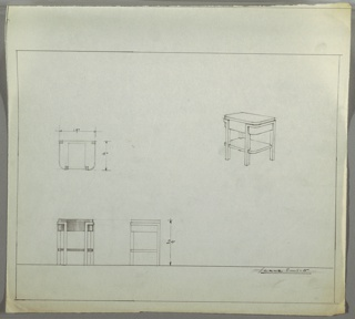 Perspective, plan and elevation drawings of end table; squared back edges, rounded front edges and four straight, squared legs (probably metal). Legs extend into base of table as support/decorative effect. Base of table at top probably wood, drawer at center (?), open wooden shelf below.
