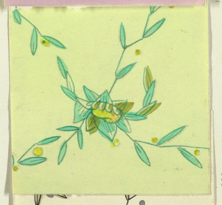 Leafy floral pattern n light green and yellow.