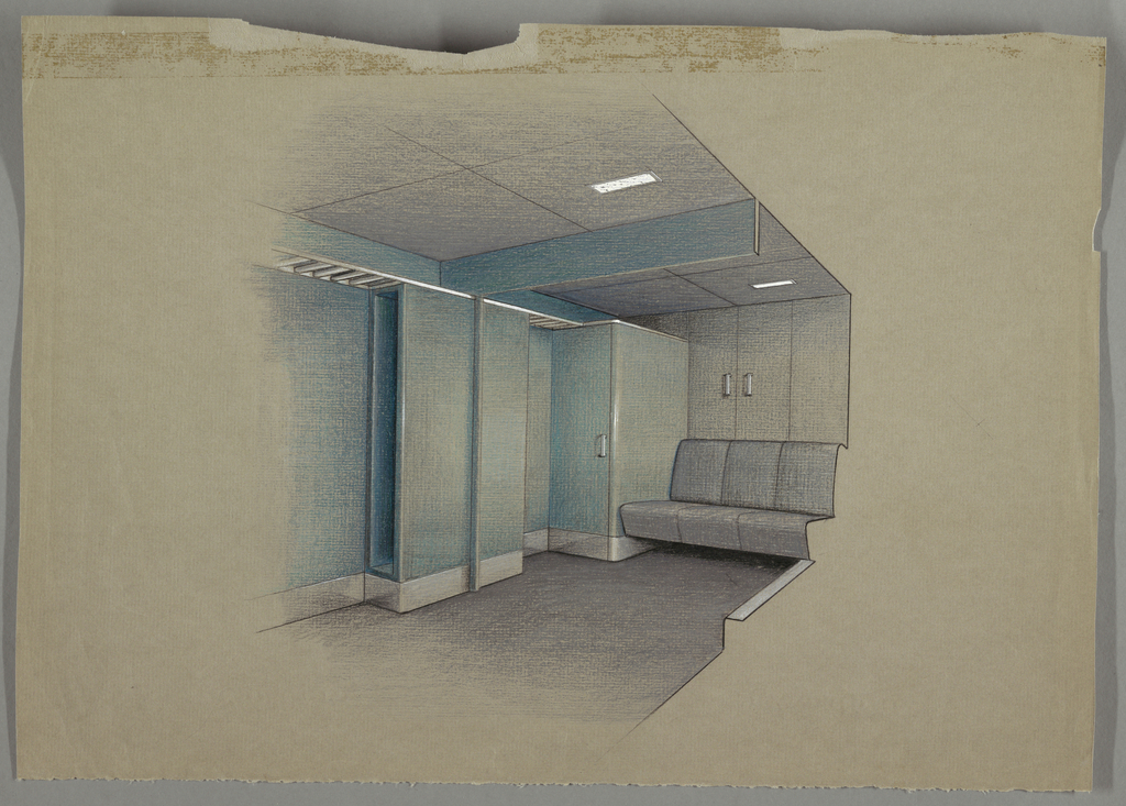 Design for interior with blue walls and closet/cabinets; along wall is a three seater sofa.