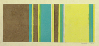 Partial view of pattern design with alternating groups of thick and thin vertical stripes in gray, blue, green, yellow, and white.