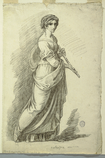 Seen in three-quarter profile, walking toward the right, holding a flute in both hands.