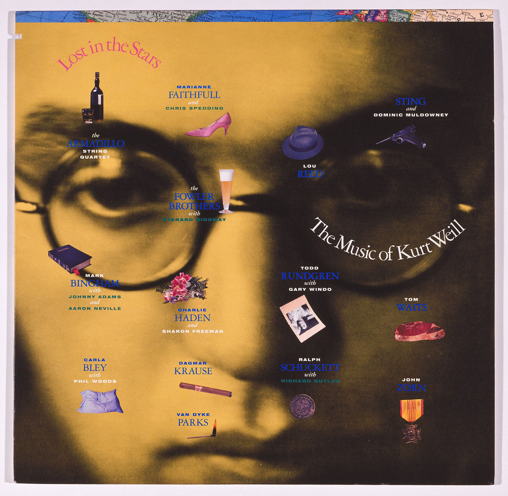 Close-up portrait of Kurt Weill printed in sepia tones overlaid with various pictographic symbols printed in blue, pink and orange which refer to computer screen icons. Text printed at top left and center right mimics the curve of Weill's distinctive glasses.
