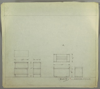 Plan and elevation drawings for two versions of an end table. Table at left with tubular frame/legs, rectangular surface, shelf below surface of table. Table at right has U-shaped tubular leg frame, glass (?) top, and stretcher at bottom.