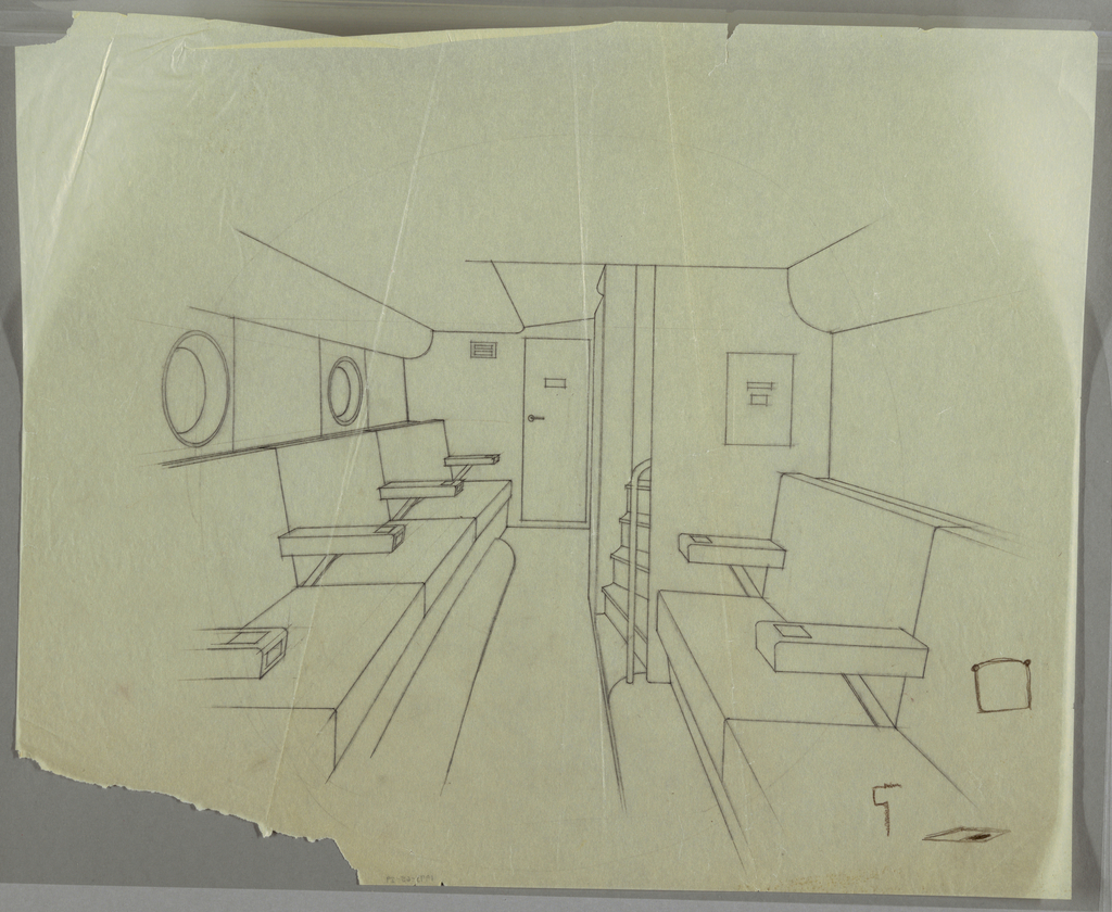 Interior of an airplane (?) or boat (?) with row of seats facing the aisle; door at the back and stairs to the left.