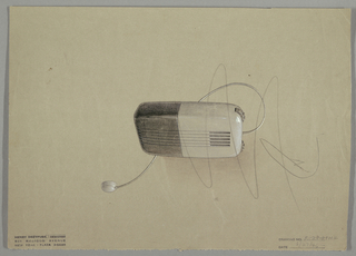 Design for a radio in gray and white; streamlined with rounded corners, with an earbud; black dial and striated for speaker.
