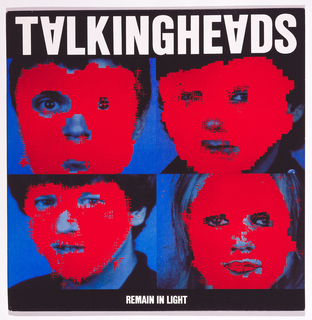 Four blue faces covered in red with the text Talking Heads Remain In Light