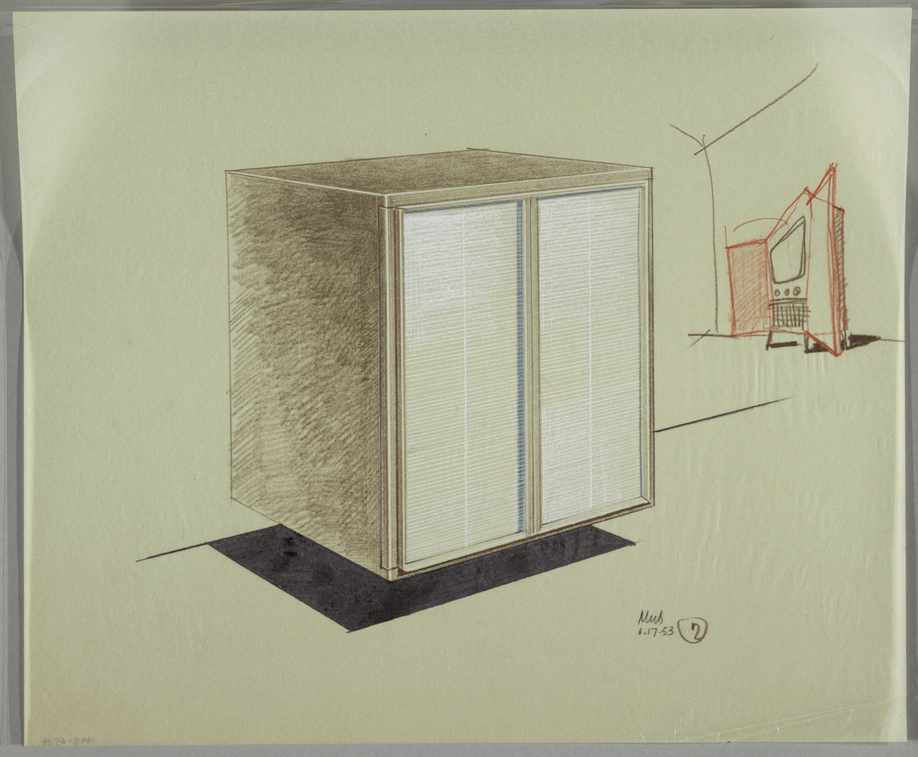 Floating cabinet with two doors; television set on a stand with open doors in the background right.