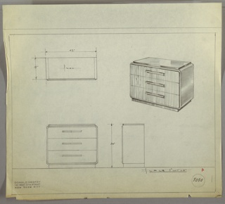 """Wide three-drawer chest with one pull, centered, per drawer. Scale: 1""""-1'"""