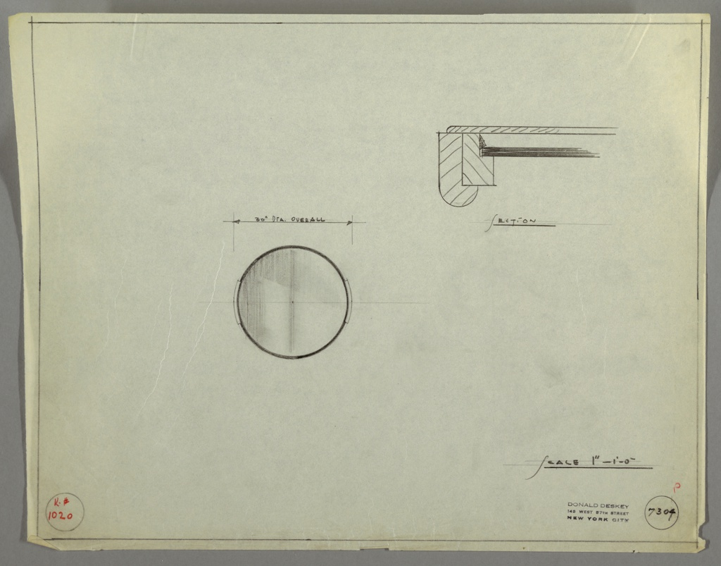 """Design for circular mirror shown in front elevation and a detail section of its mounts. At center left, elevation describes circular mirror with 30"""" dimeter and mounts on either side. Above, at right, mount section detail describes curved-front mount layered outside of flat frame and mirror glass.  Margins ruled in graphite; Kroehler Mfg. No. 1020 inscribed in red pencil. Inscribed with Deskey No. 7304."""