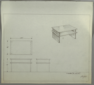 Design for end table with shelf seen in plan, front and side elevations, and perspective. At upper right, perspective shows rectangular tabletop supported by two perpendicular planes with secondary shelf at approximately two-thirds object height. Both shelf and tabletop extend beyond width of supports. At center left, plan indicates object dimensions and depth while below, at left and center, elevations provide additional specs. Margins ruled in graphite. Inscribed with Deskey No. 8495.