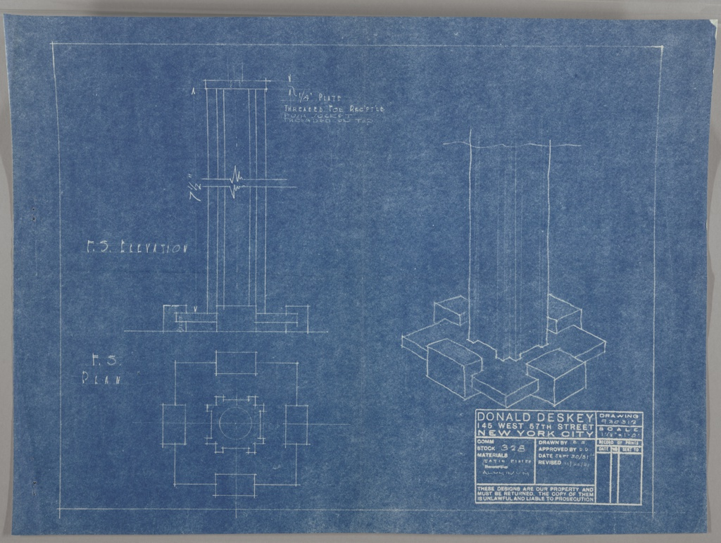 blueprint design for a table lamp stem and base in aluminum