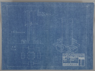 "This blueprint has three full-scale images of the base:  upper left from front; center right:  in perspective; lower left.  The stem resembles an extruded eye-beam set on a stepped based. The stamp of the Deskey office in the lower right. Scale is noted throughout the drawing.Scale: 1 1/2""=1'"