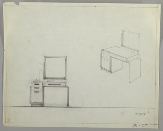 Drawing, Vanity/ Square Mirror, ca. 1930s