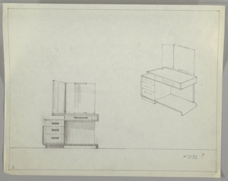 Drawing, Vanity with Hinged Mirror, ca. 1930s