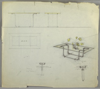 Drawing, Table: Low with Glass Top