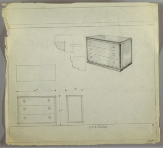 """Wide three-drawer chest with two knobs, positioned left and right, per drawer. Scale: 1""""-1'"""
