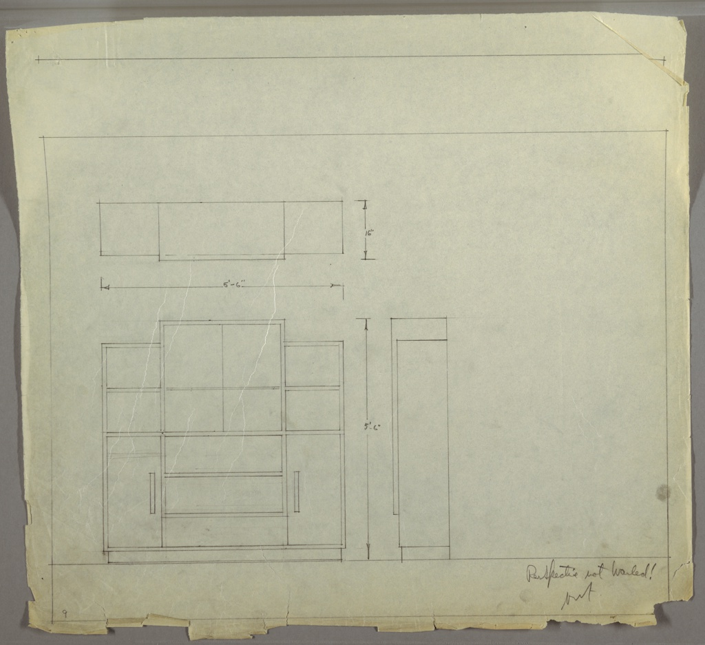 Drawing, Shelving Unit, ca. 1930s