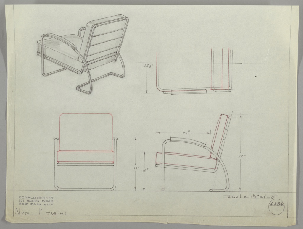 Drawing, Design for Upholstered Lounge Chair with Metal Frame