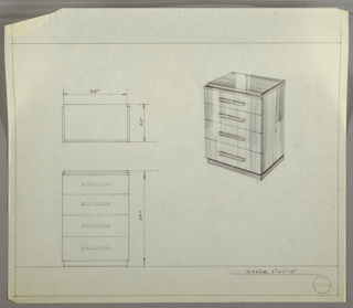 """Scale: 1""""-1'  Four-drawer chest with long, narrow pulls, centered, one per drawer."""