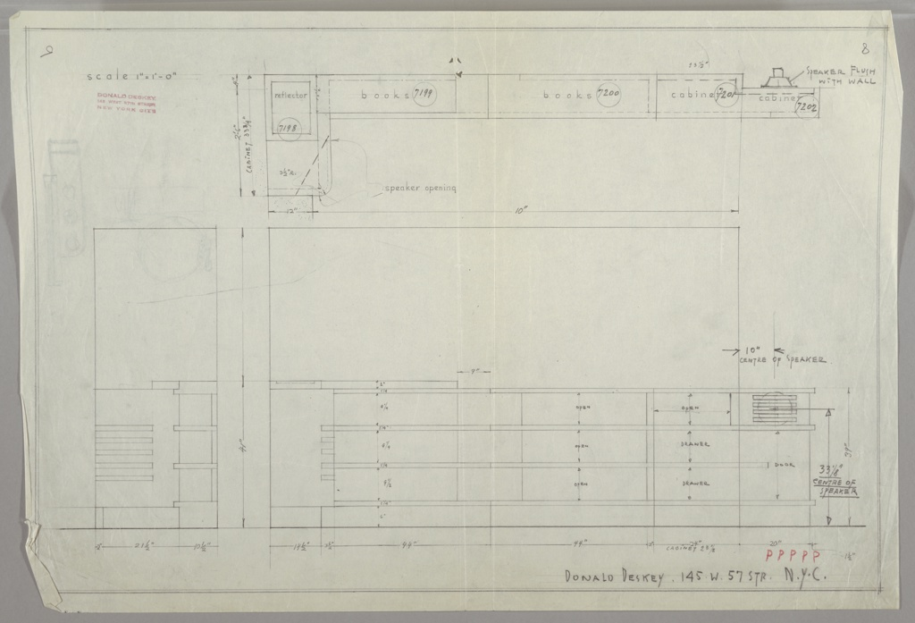 Design for built in bookcase/phonograph system. in three drawings:  upper center from above; lower left, in profile; lower center from head-on.  Double rulled border on all sides.  Verso:  lower left quaddrant; design for a vanity with mirror; detail of light fixture at left.