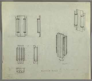 Designs for two wall light fixtures. At top left, election of one fixture indicates vertical rectangular metal plane flanked by thin rectangles of glass (indicated by green color pencil); at either side of metal plane are affixed two vertical glass tubes (indicated by green and blue color pencil) with mounts at top and bottom. To the right is a side elevation of this object; at far right, it is shown in perspective. At lower left is a front elevation of another fixture, this one featuring three vertically oriented rectangular glass prisms (shaded with blue pencil) superimposed over a graphite-shaded, shorter and wider metal rectangle. To the right a side elevation indicates object depth. At lower right is a perspective drawing indicating that sides of object are inset with additional vertical rectangular glass pieces. At lower left, the bottom-most drawing is a plan of the second fixture and indicates the placement of a lightbulb behind the three vertical glass elements. Note in graphite indicates NO-SCALE; dimensions indicated in graphite. Inscribed with Deskey No. 6115.