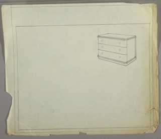 Drawing, Chest : Three-Drawer, Round Pulls, ca. 1934