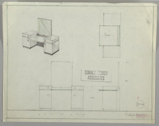 Four drawings for grained wood vanity:  upper left, in perspective; upper right, in plan; lower left from front; lower right, in profile. Vanity with single drawer and lower cabinet pedestals with fixed mirror and glass shelf suspended between.  Glass support is notched into pedestals between the upper drawers and lower cabinets. Darker wood used for base and rear of vanity. Knobs on drawers and lower cabinets are round.  Measurements on lower two drawings; ruled border on all sides in graphite and green color pencil.